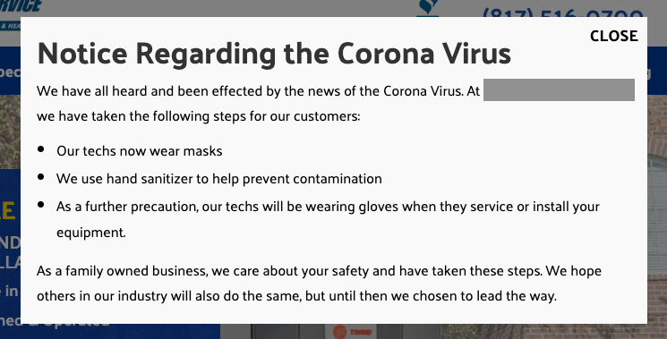 Digital Marketing Website Development - Notice of Coronavirus Safety Practices